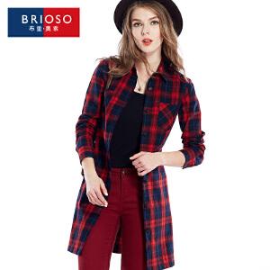 BRIOSO 秋装新款全棉薄款格子风衣外套 系带款百搭修身显瘦欧美风格子连衣裙子 WG58995-2