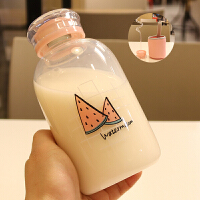 韩版小清新玻璃杯女学生简约可爱耐热杯子少女心水杯SN7542 西瓜/一杯双盖 火烈鸟双盖吸管杯
