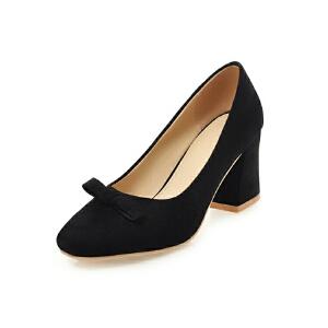 ELEISE美国艾蕾莎新品152-818韩版磨砂绒面高跟粗跟蝴蝶结女士单鞋