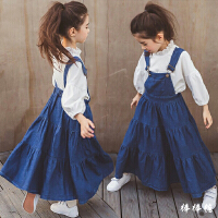 韩国春季新款童装女童纯棉牛仔背带连衣裙中大童时尚儿童套装