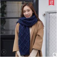 大方精致保暖百搭学生加厚羊毛菱形羊毛围巾女韩版毛线针织