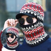 帽子男冬天保暖毛线帽加厚针织帽护颈帽子围脖防风骑车帽男士冬帽