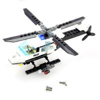 儿童益智拼装积木玩具警察直升机飞机模型塑料组装男孩玩具6-8岁