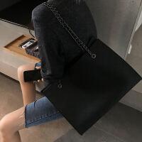 感洋气女包2019时尚新款大容量小香风菱格链条包单肩斜挎大包 黑色 收藏送小包