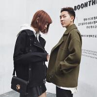 秋冬新款毛呢外套短款情侣呢大衣韩版军绿色时尚短外套潮