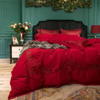 欧式婚庆60支长绒棉结婚四件套1.8m床上用品新婚床刺绣喜被套床品 法兰琳卡【欧式婚庆】