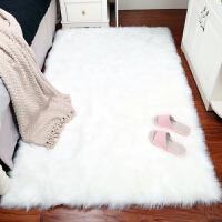 卧室床边毯客厅地垫仿羊毛拍照毯房间长方形地毯飘窗垫长毛绒白色