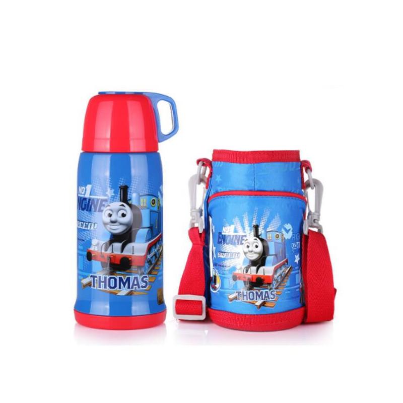 托马斯儿童保温杯480ml 男女小学生不锈钢水杯子大容量便携水壶含杯套ST52003