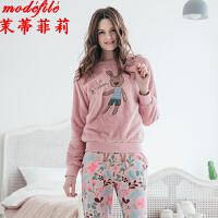 茉蒂菲莉 睡衣 女士新款秋冬季学生睡服可爱甜美长袖上衣长裤子两件套装女式简约卡通套头时尚家居服