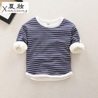 夏妆男童长袖t恤婴幼儿童冬季保暖上衣女宝宝加绒打底衫加厚0一1-3岁2