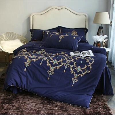 家纺欧式宫廷刺绣加厚全棉拉绒磨毛四件套深蓝色保暖全棉床上用品冬季 深蓝色