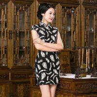 2017新款春夏秋蕾丝时尚连衣裙传统礼服黑色羽毛旗袍