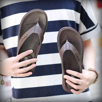 2018新款人字拖男韩版耐磨夹脚拖鞋夏季防滑凉拖男士纯色沙滩鞋潮