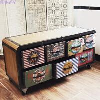 foft工业风电视柜实木复古做旧储物柜美式家具视听柜客厅装饰柜子