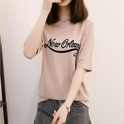 2018夏季新款冰麻t恤女 圆领短袖薄短款宽松冰丝针织衫女半袖上衣