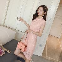 夏季蕾丝旗袍连衣裙女新款韩版时尚裙子女夏修身显瘦气质女裙 粉色