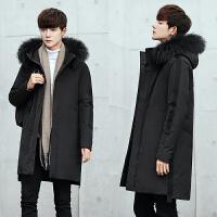冬季新款中长款毛领羽绒服男韩版修身连帽加厚外套青年潮流男 黑色 M