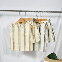 儿童棉麻背心套装 2018夏韩国男童无袖上衣+阔腿裤短裤两件套薄软