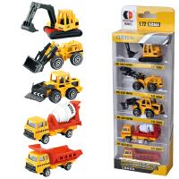 玩具合金玩具车5只装工程挖掘机消防军事警察模型车