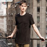 viishow夏装新款短袖T恤 欧美简约纯色短袖男 黑色纯棉T恤潮