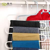 【2个装】桑代铁艺挂裤子衣架衣柜收纳架子裤挂架多功能S型多层裤架