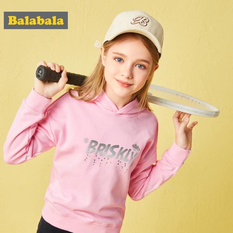 巴拉巴拉女童卫衣2018新款中大童秋装儿童打底衫长袖上衣韩版连帽