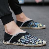 夏季帆布鞋草编男鞋亚麻鞋一脚蹬懒人鞋平底老北京女鞋潮休闲鞋 黑色 A11标准码