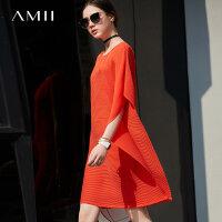 Amii极简ins欧洲站sukolchic气质连衣裙2018夏季不对称显瘦裙子