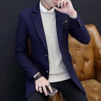 西装男修身中长款青年韩版时尚帅气妮子风衣男士秋冬季毛呢外套潮 藏青色 M