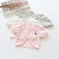 童装夏季新款女童兔子刺绣短袖宝宝纯棉披肩开衫薄外套百搭空调衫