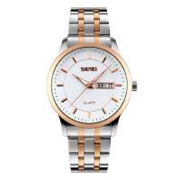 户外运动男表钢带石英手表简约时尚男士防水复古双历商务大表盘腕表