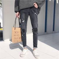 港风冬季新款韩版水洗男士修身牛仔裤加厚破洞补丁青年小脚长裤潮