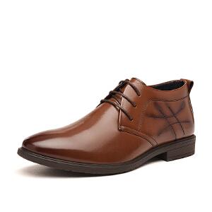 富贵鸟 新品 商务正装皮鞋 新潮英伦尖头 高帮鞋