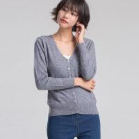 秋冬新款羊绒衫女装V领修身带扣开衫韩版加厚时尚保暖针织衫