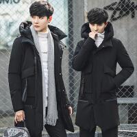 男士棉衣修身加厚中长款冬季新款青年棉袄韩版男外套冬装 黑色 M