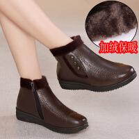 冬季加绒保暖女士中年妈妈棉鞋平底防滑中老年皮鞋侧拉链短靴棉靴lm 866棕色 35