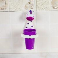 创意吸盘卡通儿童刷牙杯牙刷漱口杯宝宝牙具座牙刷架多功能杯架子 白色 小斑马