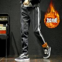 2017冬季新款加绒牛仔裤男士加大码黑色修身小脚裤日系潮流男裤子 黑色