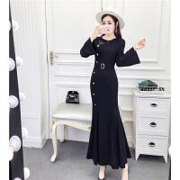 连衣裙女秋冬季2018韩版新款小香风蕾丝长袖显瘦鱼尾包臀长裙 黑色