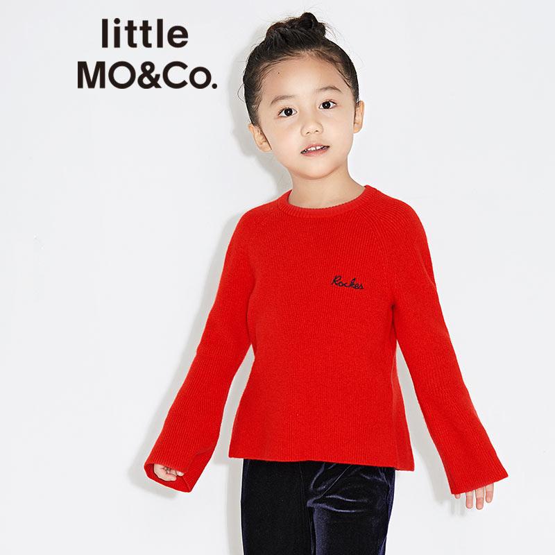 littlemoco圆领套头喇叭袖长袖后开衩刺绣针织毛衫KA171SWT313 字母绣花图案 纯羊毛针织