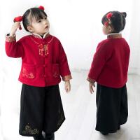 中国风男女童唐装套装冬装新款宝宝新年装拜年服汉服套