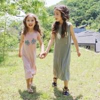 韩国童装女童夏装亲子装韩版纯棉开叉背心长裙中大童沙滩裙度假裙