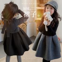 女童连衣裙冬季童装韩版中大童加绒加厚拼接撞色蓬蓬公主裙子