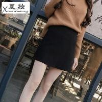夏妆毛呢半身裙秋冬新款女韩版百搭高腰包臀裙a字裙大码包裙短裙 黑色