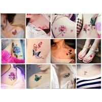 60张纹身贴女彩色性感蝴蝶花朵锁骨脚踝手腿防水仿真持久身体彩绘