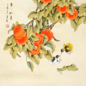 著名画家 萧泽龙《事事如意》68cmx68cm