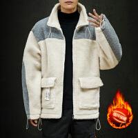 棉衣男2019冬季新款韩版潮流休闲冬装外套帅气连帽羊羔绒男士棉袄