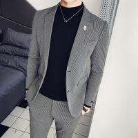 韩版修身西装时尚修身西服男士秋冬夜店绅士百搭格西服两件套 灰色