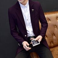 秋冬季新款西服男士外套修身韩版青年小西装帅气中长款单西上衣潮
