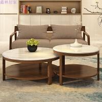 实木大理石茶几组合简约圆形茶几小户型客厅北欧茶几大小创意家具 胡桃色